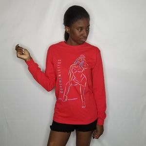 Queens N' Lettos Red Long Sleeve Tee Shirt